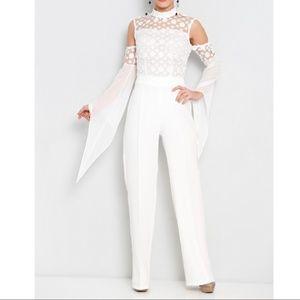 Jane White Cold Shoulder Lace detail  jumpsuit